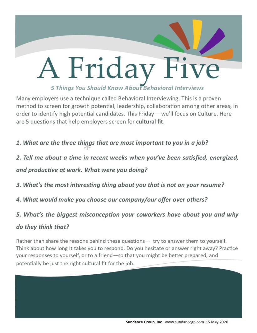 Friday Five BEHINT May 15 2020